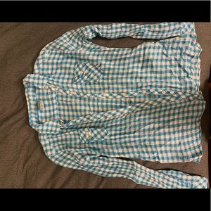 C&C California gingham check roll sleeve shirt.